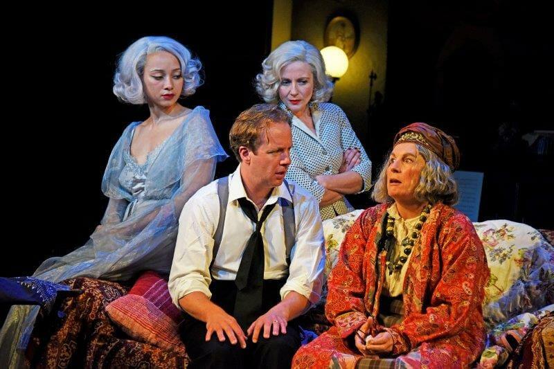 Emma Naomi Geoffrey Streatfeild Lisa Dillon and Jennifer Saunders in Blithe Spirit at Theatre Royal Bath. Credit Nobby Clark