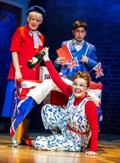 Front Lara Denning as Miss Elf Back Rosemary Ashe as Grandma and Aaron Gelkoff as Adrian in Adrian Mole the Musical credit Pamela Raith