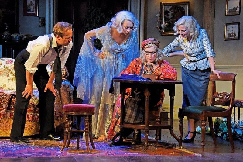 Geoffrey Streatfeild Emma Naomi Jennifer Saunders and Lisa Dillon in Blithe Spirit at Theatre Royal Bath. Credit Nobby Clark