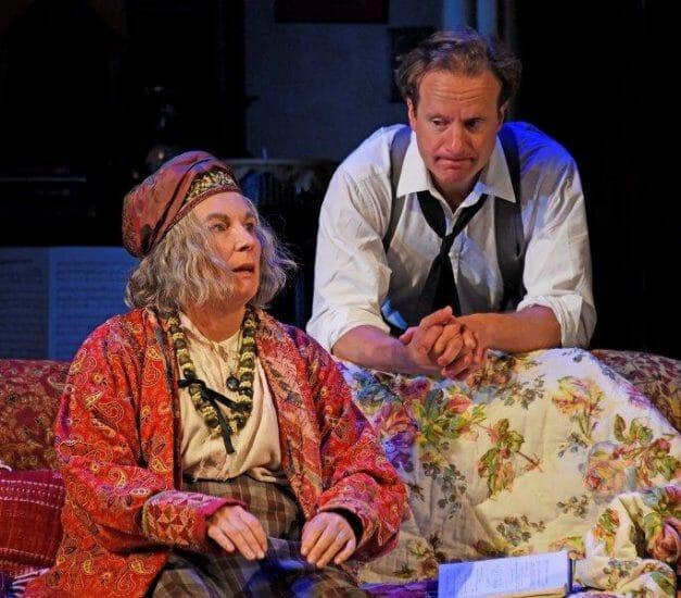 Jennifer Saunders and Geoffrey Streatfeild in Blithe Spirit at Theatre Royal Bath. Credit Nobby Clark