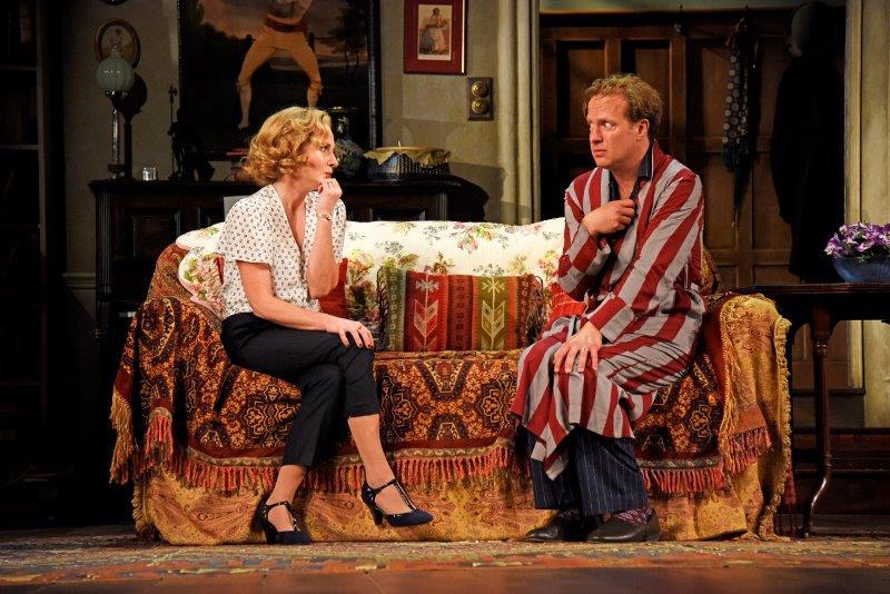 Lisa Dillon and Geoffrey Streatfeild in Blithe Spirit at Theatre Royal Bath. Credit Nobby Clark