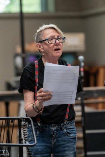 Myra McFadyen Puck rehearsing for A Midsummer Nights Dream at Regents Park Open Air Theatre. Photo Jane Hobson.