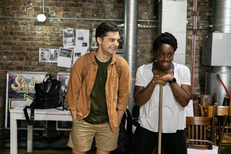 LtoR Andy Mientus and Carly Mercedes Dyer in rehearsals for The View UpStairs credit Darren Bell