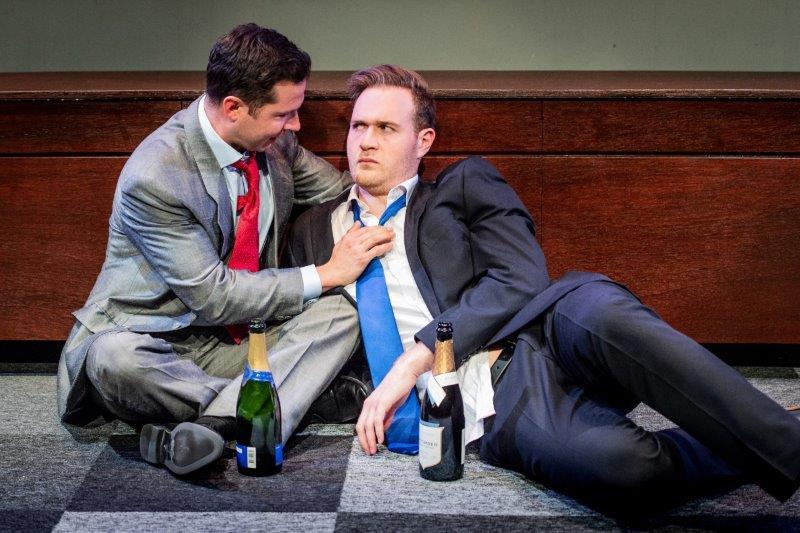 Ben Hood Ben Alderton L R in Hell Yes Im Tough Enough at Park Theatre. Photo by Robert Workman