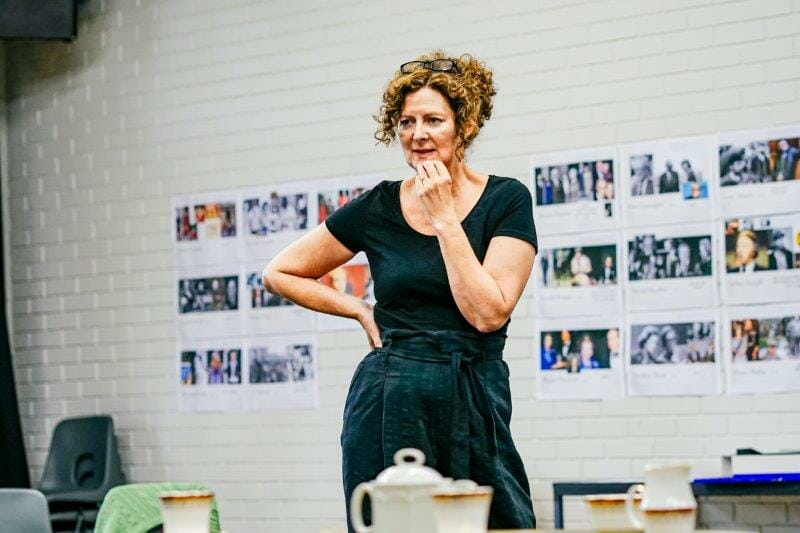 Fiona Buffini Handbagged Rehearsals New Vic Theatre Photo by Andrew Billington