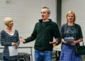 Jan Goodman Paul Mundell and Zoe Aldrich in Handbagged Rehearsals New Vic Theatre Photo by Andrew Billington