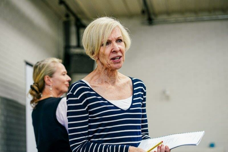 Louise Bangay and Jan Goodman in Handbagged Rehearsals New Vic Theatre Photo by Andrew Billington