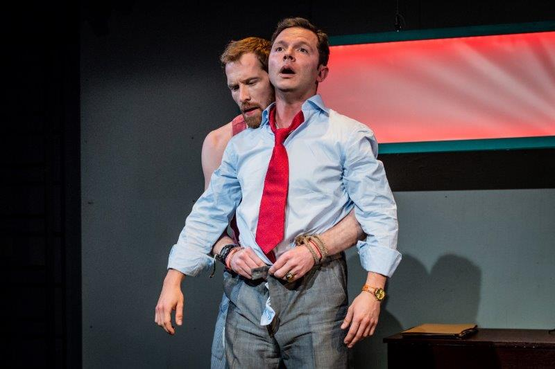 Michael Edwards Ben Hood L R in Hell Yes Im Tough Enough at Park Theatre. Photo by Robert Workman