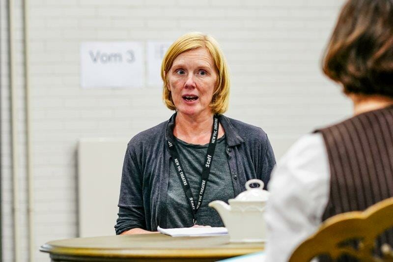 Zoe Aldrich in Handbagged Rehearsals New Vic Theatre Photo by Andrew Billington