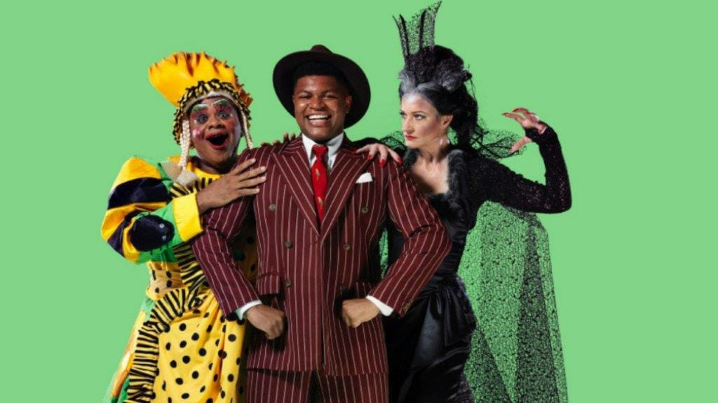 Clive Rowe Tarinn Callender and Anette McLaughlin in Hackney Empires Dick Whittington and his Cat c. mrperou