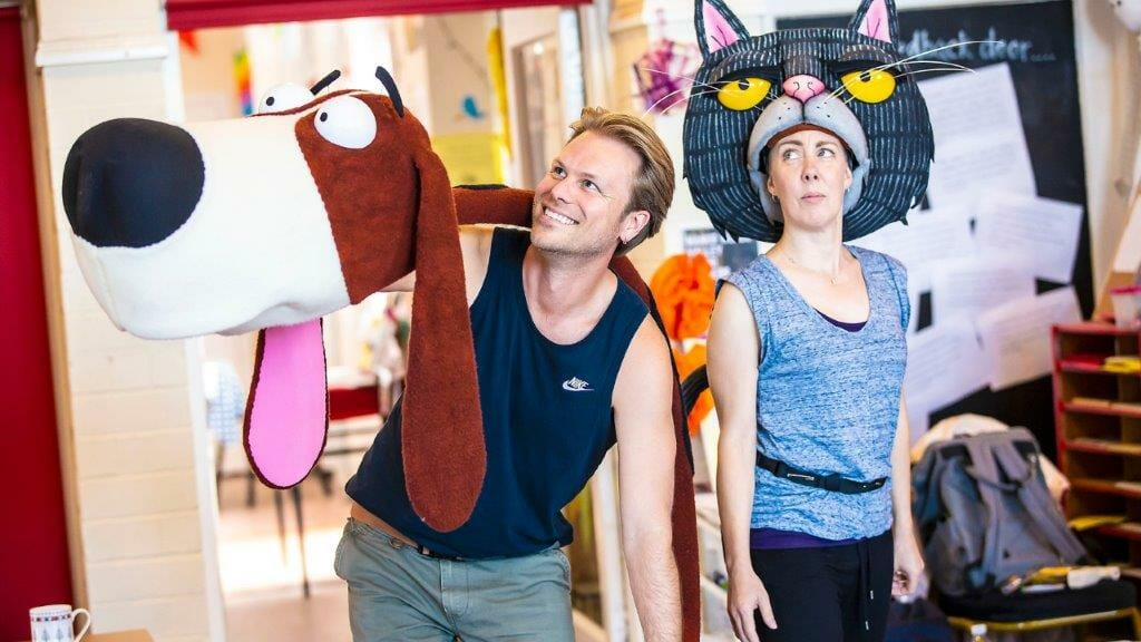 Darren Seed as DOG Lucy Tuck as CAT Oi Frog and Friends Rehearsals Pamela Raith Photography