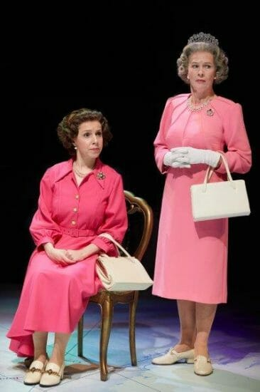 From L R Melissa Collier as Liz and Louise Bangay as Q Handbagged at the New Vic Theatre. Photo by Mark Douet A