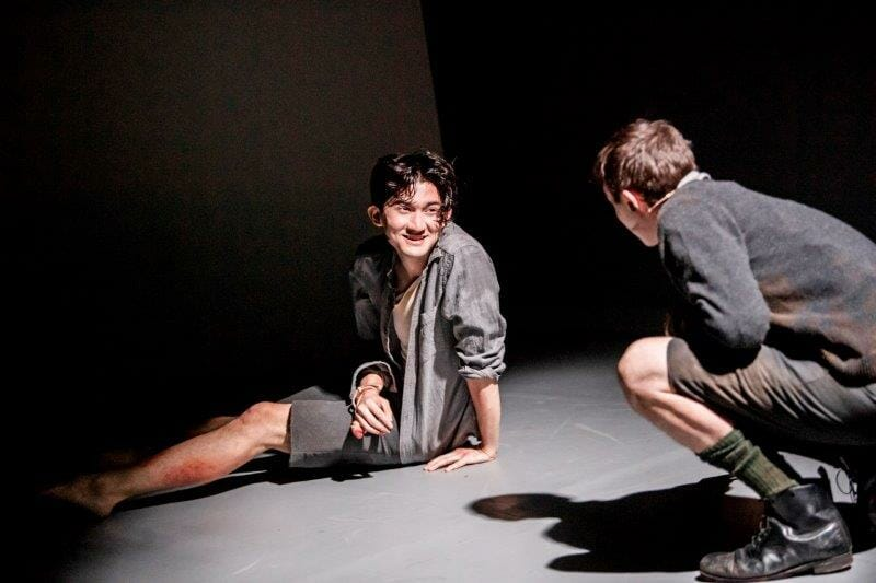 James Day and James Newton in Maggot Moon at the Unicorn Theatre. Photo Tristram Kenton