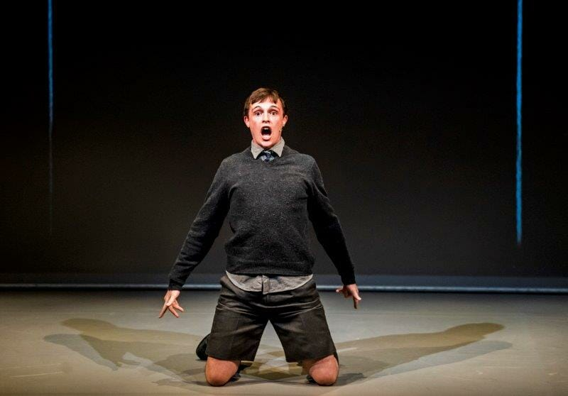 James Newton in Maggot Moon at the Unicorn Theatre. Photo Tristram Kenton