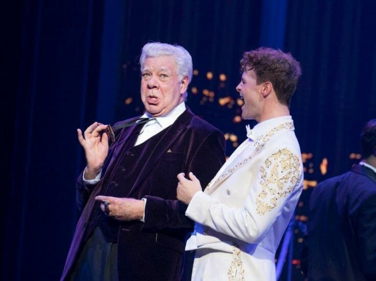 Matthew Kelly as George MacMillan Jay McGuiness as Josh Baskin. Credit Alastair Muir