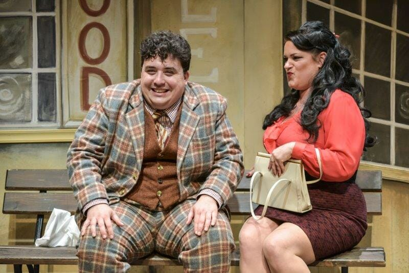 One Man Two Guvnors David OReilly as Francis Henshall and Rosie Strobel as Dolly Photo by Robert Day Derby Theatre