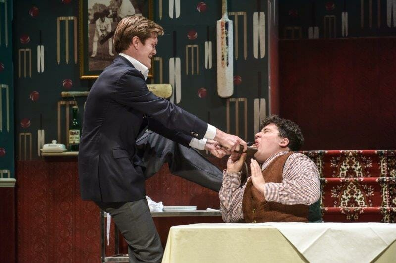 One Man Two Guvnors George Kemp as Stranley and David OReilly as Francis Henshall Photo by Robert Day Derby Theatre