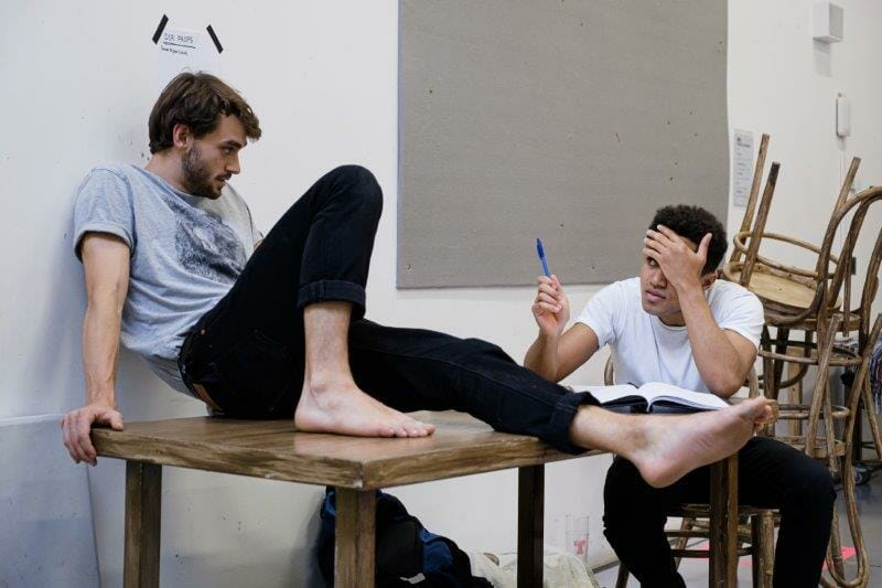 Angus Yellowlees Simon and Joshua Williams Joe in Touching The Void rehearsals. Photographer Jack Offord