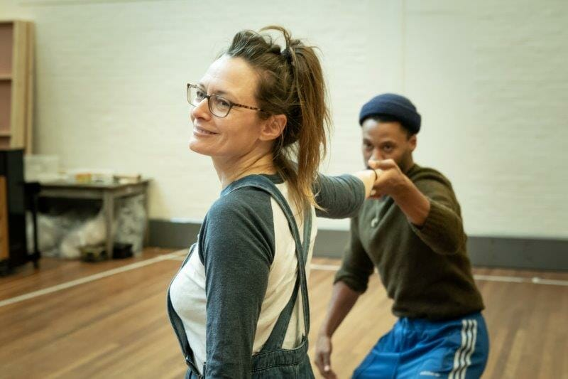 Catherine McCormack Ira Mandela Siobhan in rehearsals for My Brilliant Friend. Image by Marc Brenner