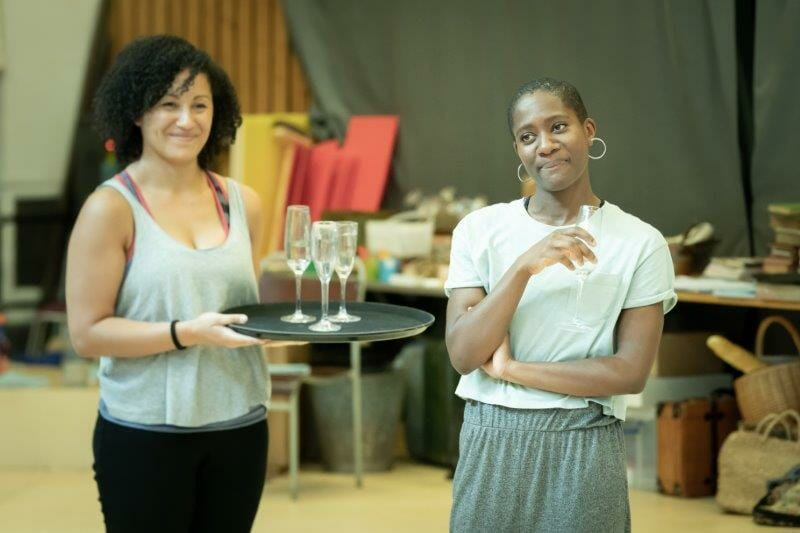 Danielle Henry Kezrena James in rehearsals for My Brilliant Friend. Image by Marc Brenner