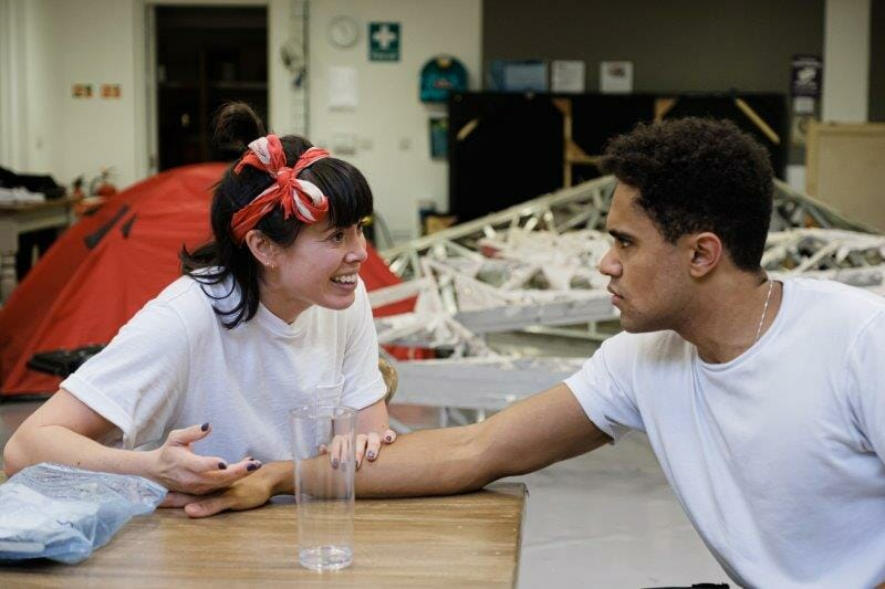 Fiona Hampton Sarah and Joshua Williams Joe in Touching The Void rehearsals. Photographer Jack Offord