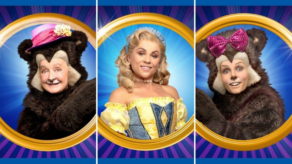 Janine Duvitski Sophie Isaacs and Lauren Stroud in the London Palladium Pantomime Goldilocks and the Three Bears