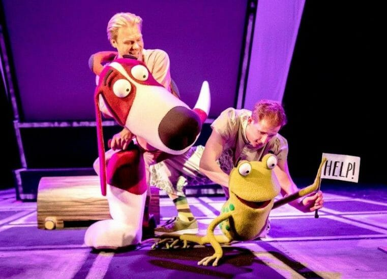 L R Darren Seed as Dog and John Winchester as Frog in Oi Frog Friends Pamela Raith Photography