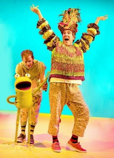 L R John Winchester as Frog Simon Yadoo as Cheetah in Oi Frog Friends Pamela Raith Photography