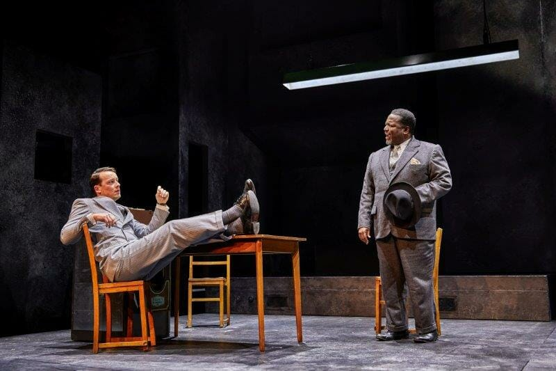 Matthew Seadon Young and Wendell Pierece in Death of a Salesman pic by Brinkhoff Mogenburg