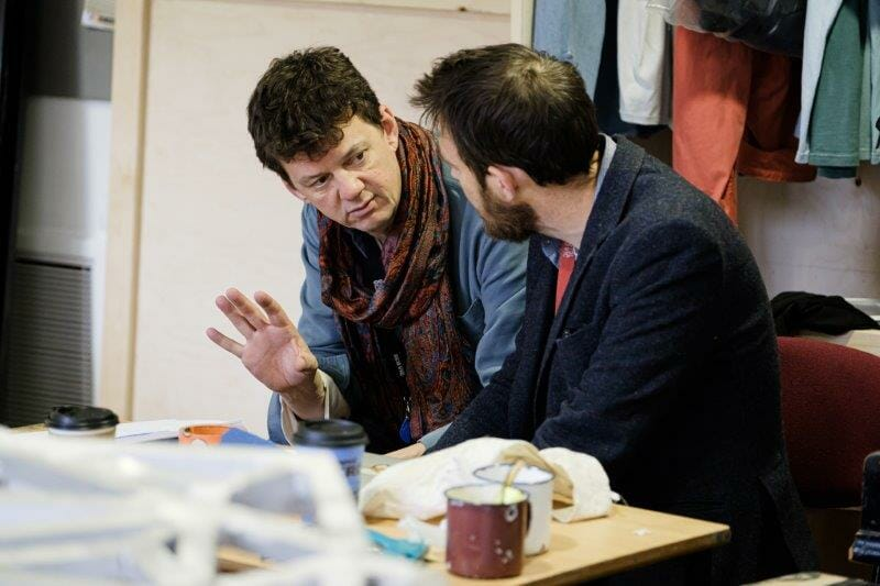 Tom Morris Director and David Greig Adaptor in Touching The Void rehearsals. Photographer Jack Offord