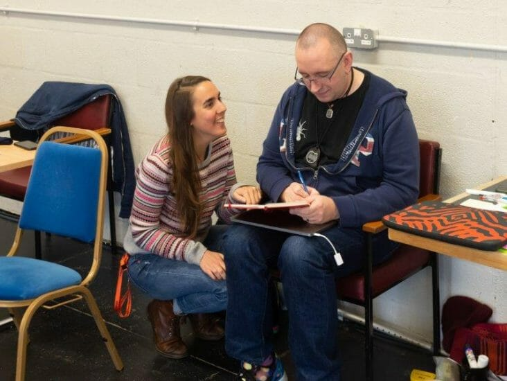 Zoe Waterman left and Ed Salt right Jack and the Beanstalk Rehearsals Theatr Clwyd c Brian Roberts
