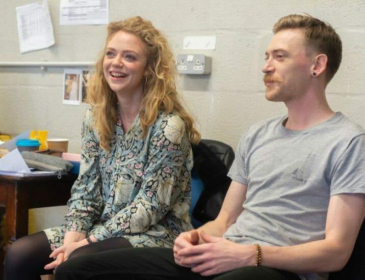 Eleri B Jones left and Adam Barlow right. Jack and the Beanstalk Rehearsals Theatr Clwyd c Brian Roberts