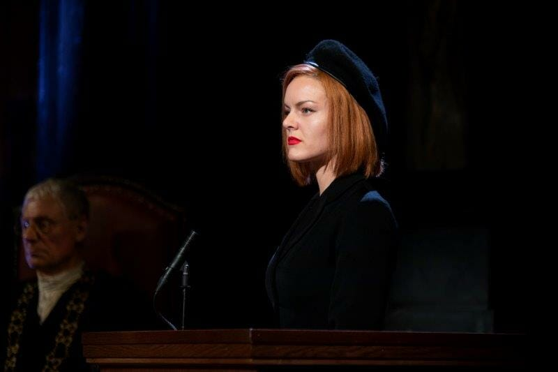 Alexandra Guelff as Romaine Vole in Witness for the Prosecution. Credit Ellie Kurttz