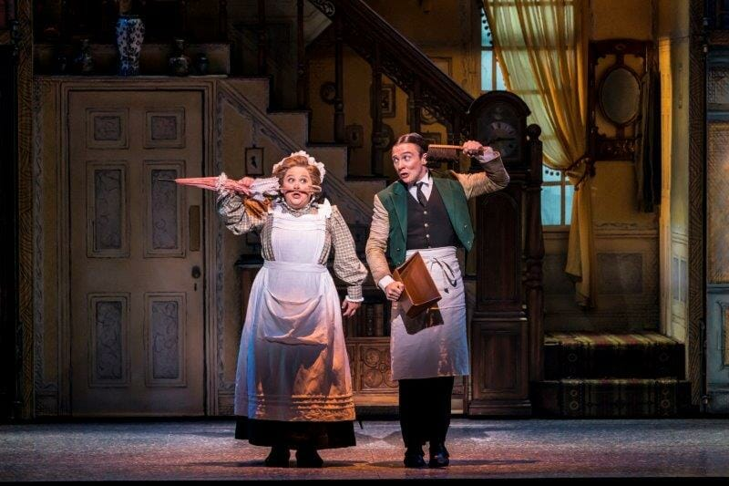 Claire Machin as Mrs Brill and Jack North as Robertson Ay in Mary Poppins Photograph Johan Persson