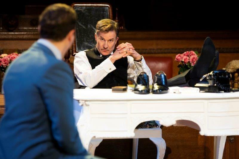 Jo Stone Fewings as Sir Wilfrid Robarts QC and Taz Skylar as Leonard Vole in Witness for the Prosecution. Credit Ellie Kurttz