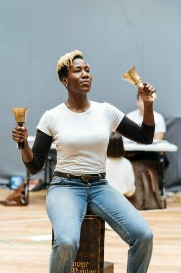 Maria Omakinwa Mrs. Cratchit in rehearsals for A Christmas Carol at The Old Vic. Photo Credit Manuel Harlan.