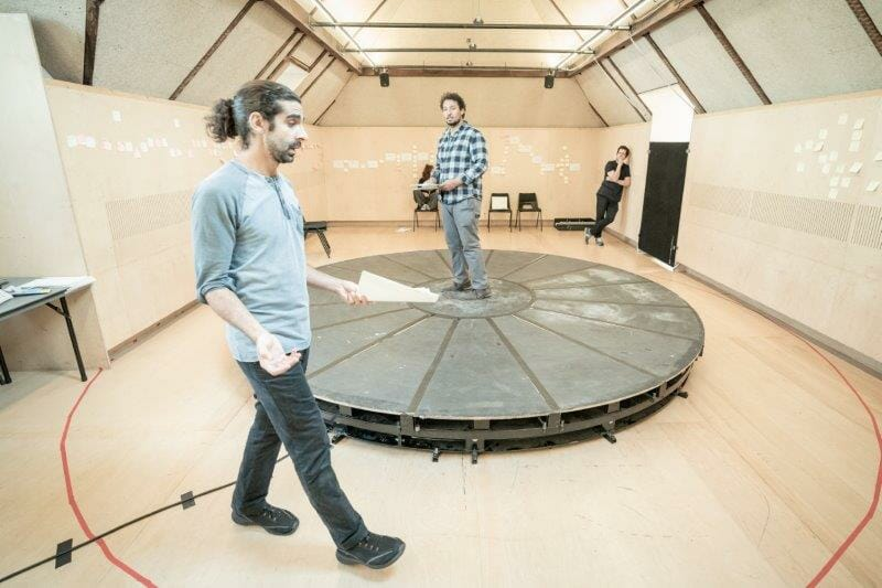l r Scott Karim and Irfan Shamji in rehearsals for The Arrival. Photo by Marc Brenner REH
