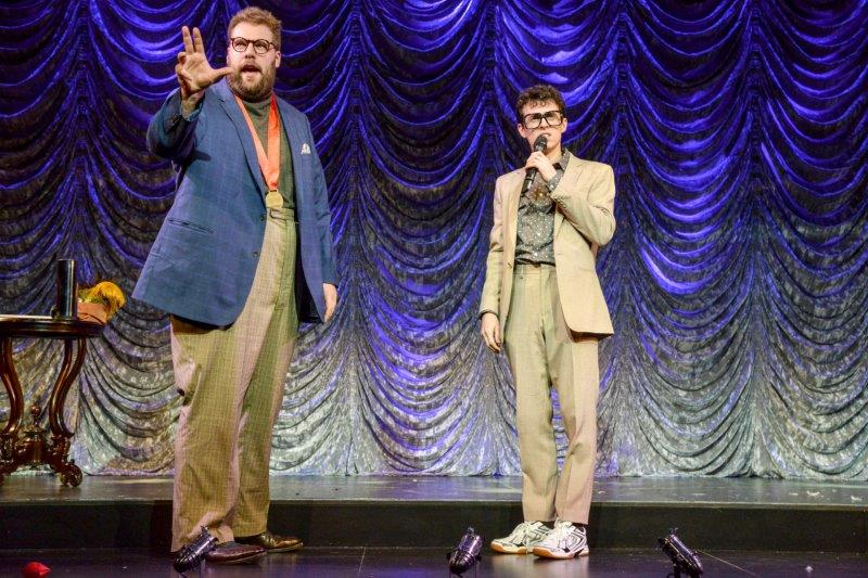 L R Henry Lewis Mind Mangler and Jonathan Sayer Mickey in Magic Goes Wrong. Photo credit Robert Day