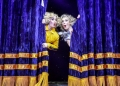 L R Nancy Zamit Bear and Bryony Corrigan Spitzmaus in Magic Goes Wrong. Photo credit Robert Day