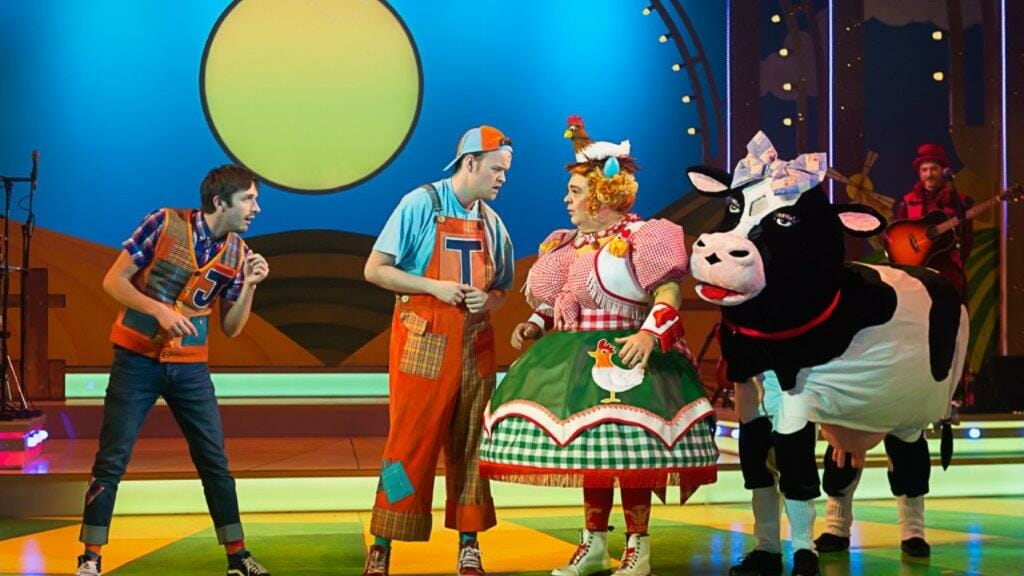 Peter Mooney as Jack Ben Locke as Tommy Trot Phylip Harries as Dame Tegwen Trott and Daisy the Cow. Jack and the Beanstalk Theatr Clwyd c Brian Roberts