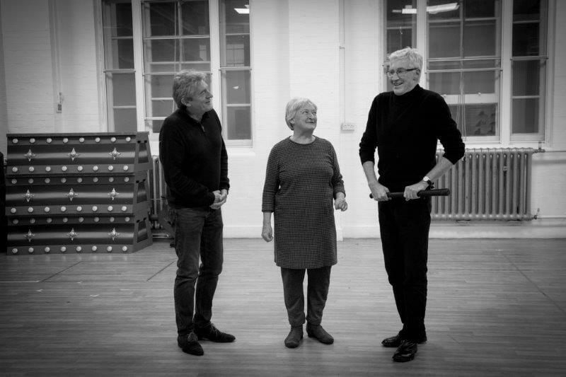 l r Nigel Havers Janine Duvitski and Paul OGrady Goldilocks and the Three Bears London Palladium Rehearsals Photo Credit Craig Sugden