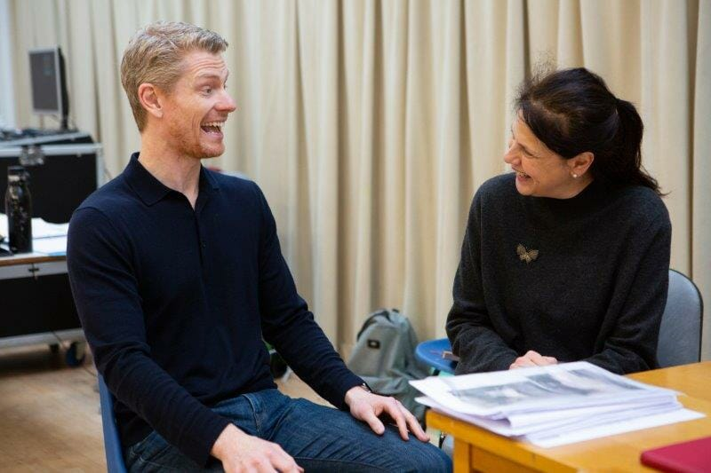 Al Blyth Playwright and Roxana Gilbert Director in rehearsals for The Haystack at Hampstead Theatre. Photo credit Ellie Kurttz.