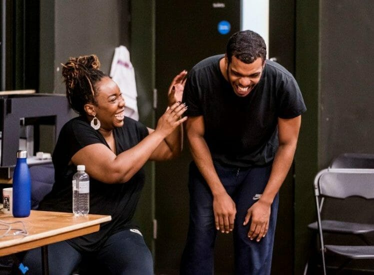 Chizzy Akudolu and Caleb Roberts. Frantic Assembly. I Think We Are Alone. Rehearsals. Photo Tristram Kenton