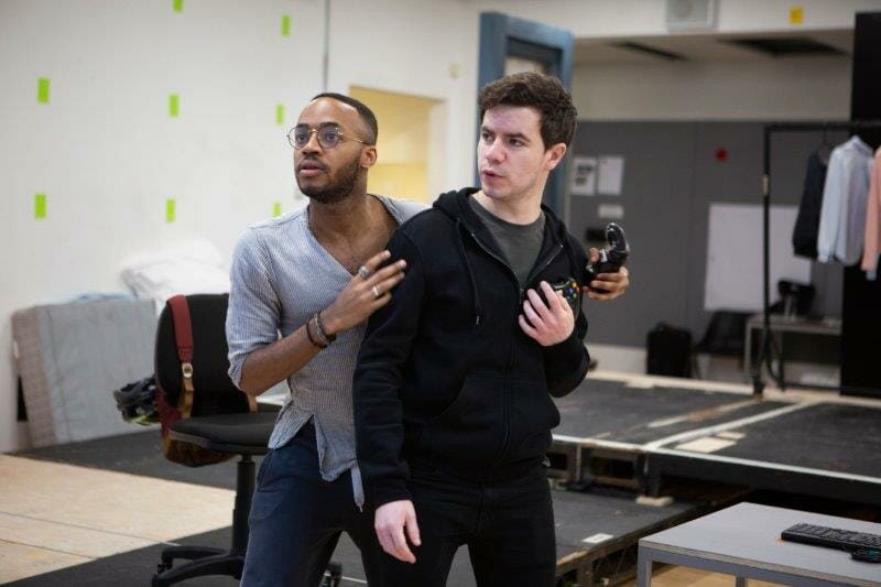 Enyi Okoronkwo Zef and Oliver Johnstone Neil in rehearsals for The Haystack at Hampstead Theatre. Photo credit Ellie Kurttz.