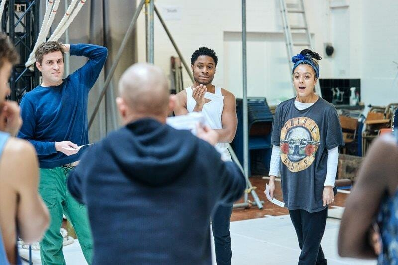 Ewan Wardrop Dad Ammar Duffus Conor and Cora Kirk Lily in rehearsals for the A Monster Calls UK Tour. Photo credit Manuel Harlan