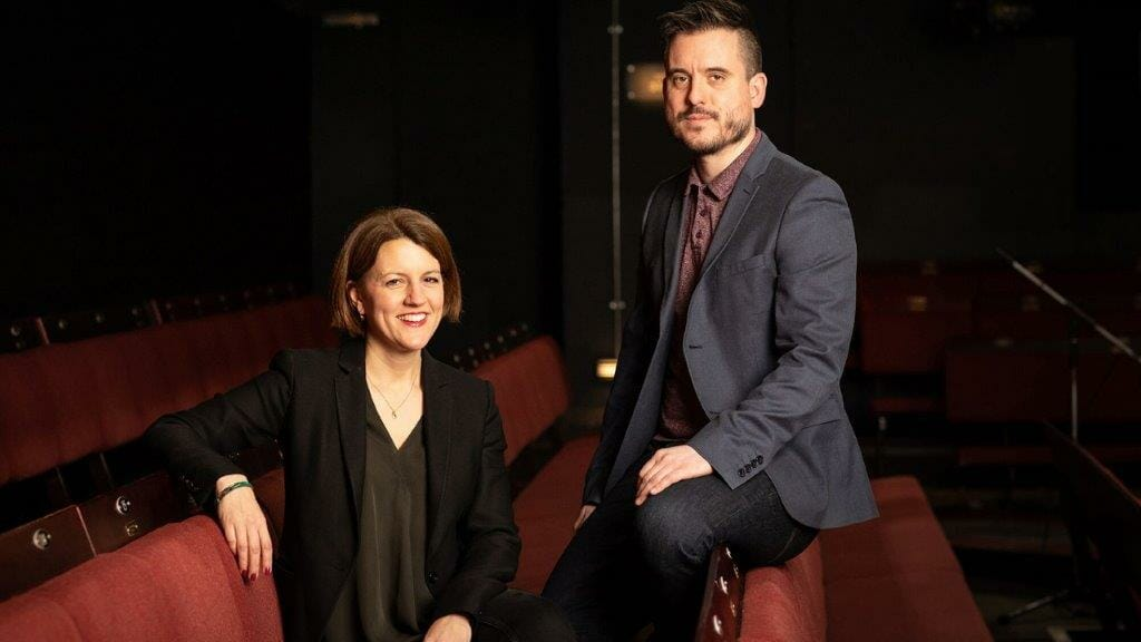 Excutive Director Henny Finch and Artistic Director Michael Longhurst at the Donmar Warehouse. Photo by Helen Maybanks.