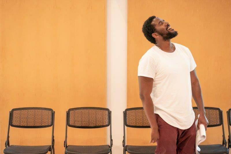 Gershywn Eustache Jnr in Pass Over by Antoinette Nwandu at Kiln Theatre. Marc Brenner