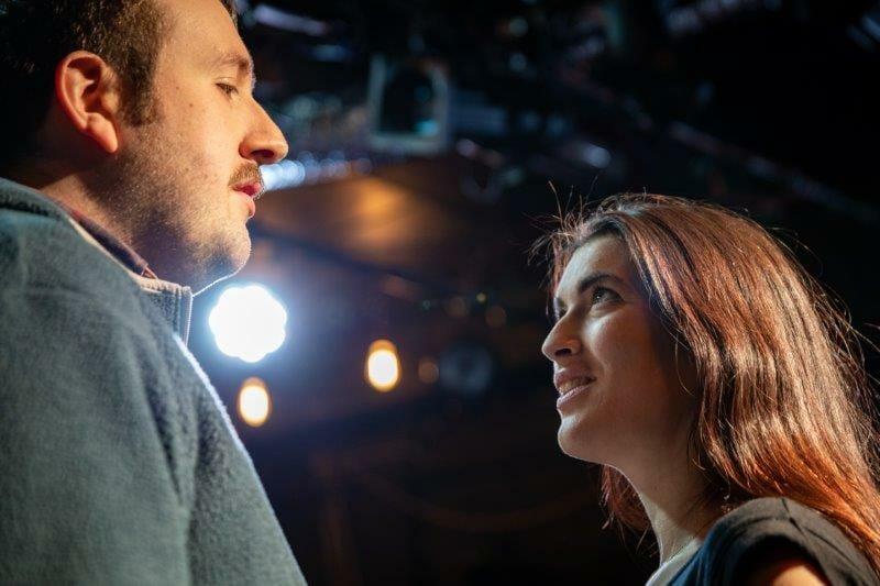 Hugo Herman Wilson and Fiona Finsbury in rehearsals for Opera Undone Tosca La bohème credit Beastly Studios