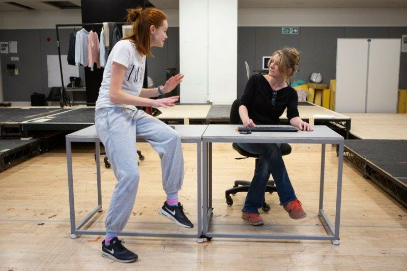 L R Rona Morison Cora and Lucy Black Denise in rehearsals for The Haystack at Hampstead Theatre Photo credit Ellie Kurttz.