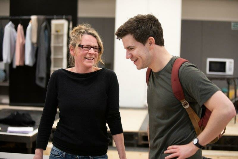 Lucy Black Denise and Oliver Johnstone Neil in rehearsals for The Haystack at Hampstead Theatre. Photo credit Ellie Kurttz.
